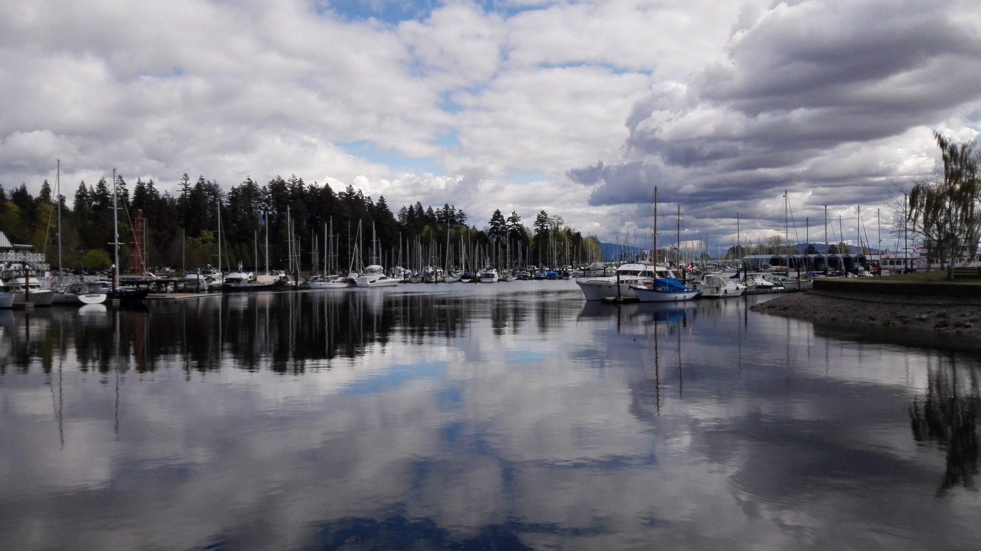 cloudy sky, boats, and trees reflection on water at Seawall, Vancouver BC Canada