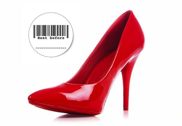 red high heel with best before date sign